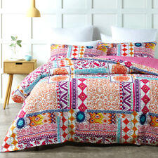QUEEN Quilt Cover Set Thermal Bound Quilted Effect Reversible Duvet Doona PERON