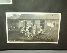 Great Old vtg 1920s Girls Photo Album Flapper Family Red Cross Kids Cow Wagon