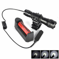 Tactical 501B LED Flashlight + Mount Rail Hunting Remote pressure switch +18650