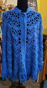 Vintage Crochet Cape Fringe Boho Poncho Blue One Size Buttons