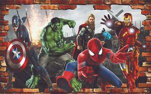 Heroes Avengers Spiderman Ironman Wall Decal Mural Kids Bedroom Decor Z20