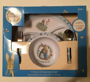 NEW IN BOX Beatrix Potter Peter Rabbit  4pc Melamine Children's Dinnerware Set