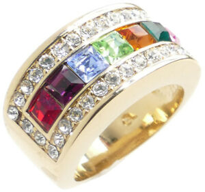 Ah! Jewellery® Women's Multi Colour Designer Ring. 9mm Wide Rainbow Crystal Band
