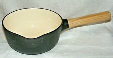 BERGHOFF RON CAST IRON & ENAMEL 18 CMS SAUCEPAN ASH WOOD HANDLE BLACK & CREAM