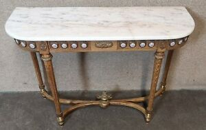 French Walnut and  Marble Top Console - Side Table