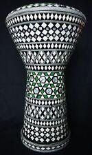 LARGE DARBUKA DOUMBEK GOBLET DRUM BLACK-GREEN-WHITE MOSAIC +EXTRA HEAD, BAG, KEY