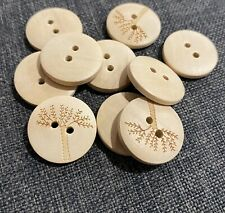 10 X 20mm Creamy Natural Wooden Buttons With Tree Motif Australian Supplier
