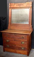 Antique Vintage Eastlake Oak Wood Wooden Dresser Chest Vanity Beveled Mirror Key