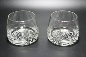 2 James Buchanan Scotland Whiskey Glass Elegantly etched bottom and Gold label