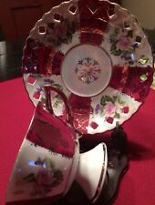 Porcelain CHINA Footed CUP & Reticulated SAUCER OPALESCENT Made In Japan*