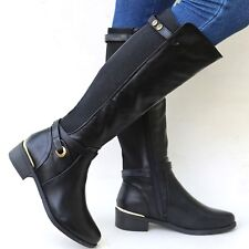 New Women TRB Brown Black Buckle Riding Knee High Cowboy Boots 6 to 10