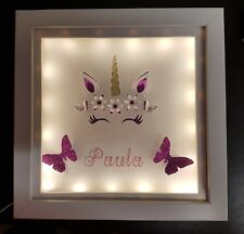 Personalised, illuminated Unicorn shadow box frame.