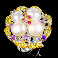 Handmade Natural Pearl 925 Sterling Silver Ring Size 8.5/R125326