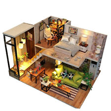 1/24 Scale Miniature Dollhouse With Furniture Kits LED Lights DIY Wooden House