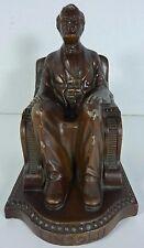 Orig 1920s A LINCOLN Decorative Art Statue Bookend Cast Metal Bronze c1924