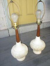 "Pair Plasto Lamps all original Mid century embossed walnut work 26"""