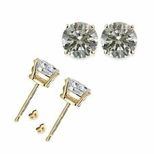 1 Carat 5MM Round White CZ 925 Silver Yellow Gold Plated Stud Earrings