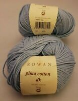 2 SKEINS/BALLS OF (DISC) ROWAN PIMA COTTON DK YARN ~ SH028-SKY