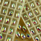50pc Clear AB Sew On teardrop/rectangle Cut Glass flatback Crystal Rhinestone pk