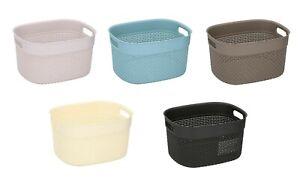 Rattan Style Plastic Storage Baskets Office Home Kitchen Tidy Organiser Basket