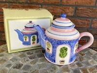 Pink Blue Ceramic Teapot Tea Pot World Bazaars Garden Plants Kettle Server NIB