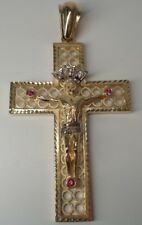 Mens 14K Yellow Gold Cross Pendant with Cubic Zirconia and Synthetic Rubys