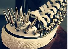 10 SPIKES CONE SCREWBACK SILVER NICKEL PUNK RIVET LEATHER BAGS CRAFT 10x29mm