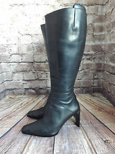 Ladies Next Black Leather Zip Fastening Mid Heel Long Boots Size UK 4 EU 37