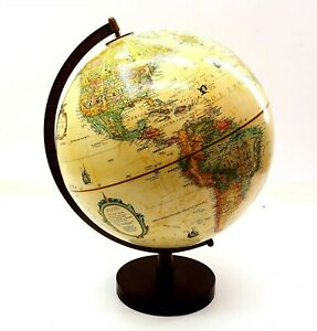"""REPLOGLE 12"""" Globe World Classic Series on Wooden Stand / Raised Relief NICE!!"""