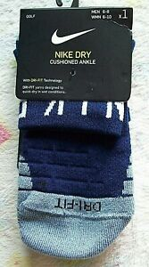 "Nike GOLF ""NIKE DRY CUSHIONED"" ANKLE SOCKS -Blue MEN'S/WOMEN'S -Medium 6-8/6-10"
