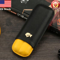COHIBA Classic 2 Tubes Leather Travel Cigar Case Holder Humidor US Stock  Black