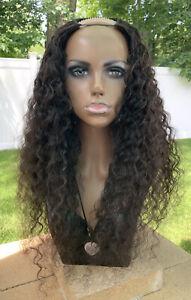 "U-Part Real Human Hair Wig Dark Brown Curly 22"" stretched 100% Natural"