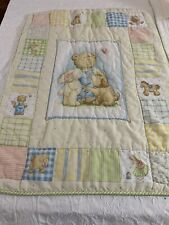 "Circa 1970s ADORABLE Vintage Teddy Bear and Toys QUILT 43"" x 33"" baby crib #494"