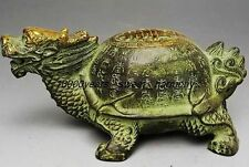 EXQUISITE VINTAGE CHINESE BRONZE GILT OLD HANDWORK DRAGON TURTLE STATUE