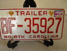NORTH CAROLINA N C TRAILER LICENSE PLATE BF-35927  ESTATE FIND