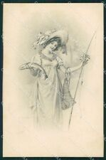 Fishing Lady Schubert MM Vienne serie 379 postcard cartolina QT6343