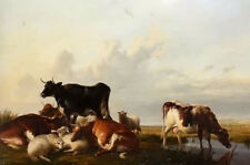 Oil painting thomas sidney cooper - cattle and sheep in canterbury mead drinking