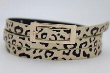 Hot Women Gold Metal Buckle Hip High Waist Leopard Animal Print Skinny Belt L XL
