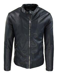 Giubbotto ecopelle Biker uomo nero giacca giubbino collo coreano casual