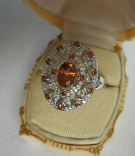 Sterling Colleen Lopez 1.4ct Citrine White Zircon Oval Cocktail Ring SZ 9+  RE58