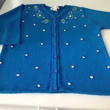 Susan Graver embroidered 3/4 length sleeve size medium sweater