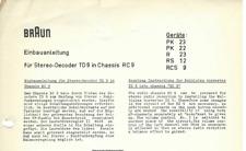 Braun Original Service Einbauanleitung für TD 9 in Chassis RC 9  PK 23 etc