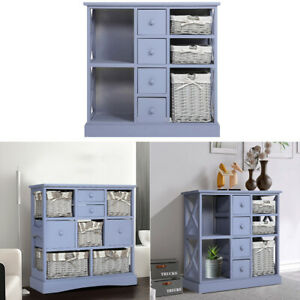 Wood Storage Unit Cabinet Sideboard Cupboard 4Drawers Chest Stand Wicker Baskets