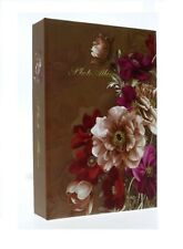 "Brown Slip In Photo Album 200 6"" x 4"" Photos Memo Area Flowers Birthday Gift"