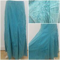 M&S Per Una Floral Applique Aqua Blue Gypsy Floaty Summer Maxi Skirt Lined 8L