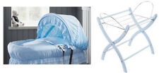 Brand new Izziwotnot blue royal lace on grey wicker moses basket with blue stand
