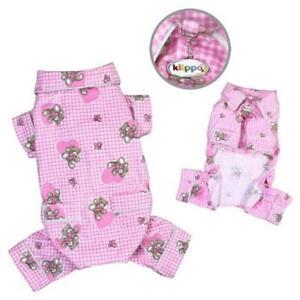 Klippo Pet KBD065XS Adorable Teddy Bear Love Flannel Pajamas Pink - Extra Small