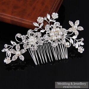 Bridal Flower Wedding Hair Comb Diamante Crystal Pearl Clip Slide Hairpiece Prom