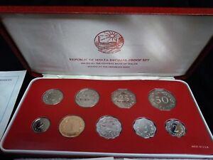 1980 Malta Proof Set 9 Coin Set Original Holder and COA (#F-31)