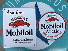 gargoyle MOBIL OIL - ARCTIC porcelain coated TOP QUALITY 18 GAUGE steel signs